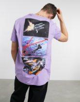 Bershka - T-Shirt in Mauve mit Space Cowboy-Print auf Brust und Rücken-Lila