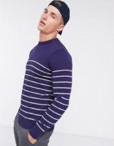 Brave Soul - Pullover mit Rundhalsausschnitt in Navy gestreift