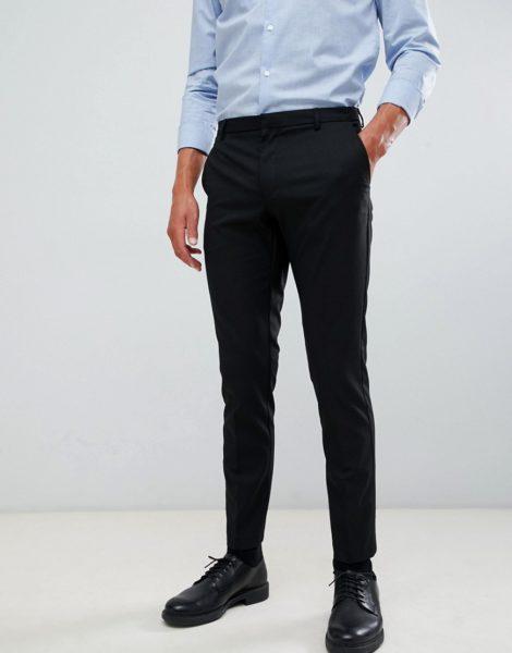 Burton Menswear - Elegante, eng geschnittene Hose in Schwarz