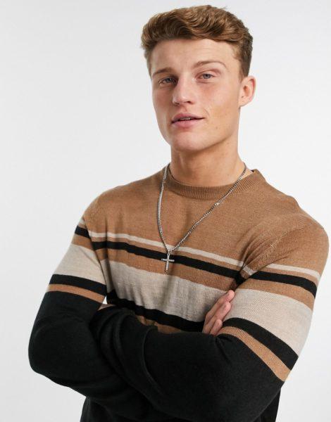Burton Menswear - Gestreifter Pullover mit Rundhalsausschnitt in Hellbraun