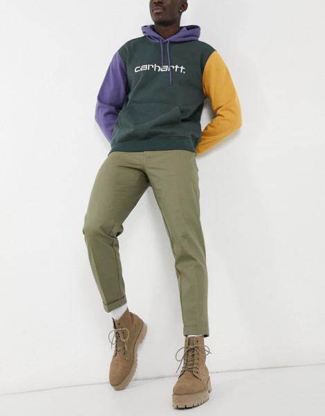 Burton Menswear - Hose mit kurzem Schnitt und Ziernähten, in Khaki-Grün