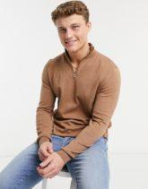 Burton Menswear - Pullover mit kurzem Reißverschluss in Hellbraun