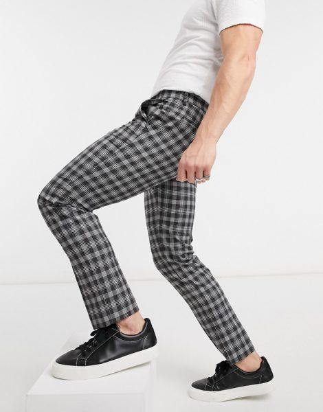 Burton Menswear - Schmale, kurz geschnittene Hose in Schwarz und Weiß kariert