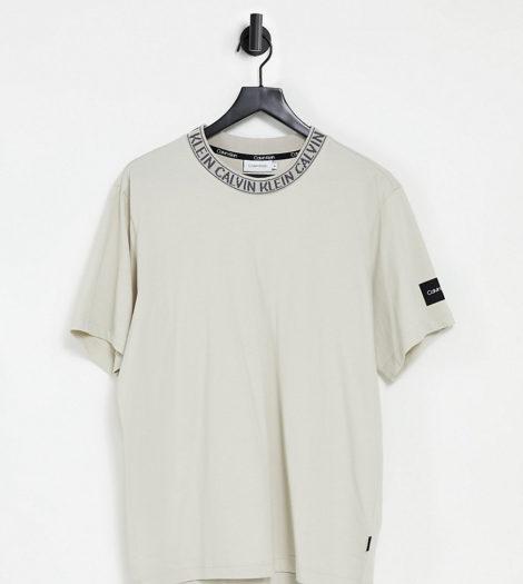 Calvin Klein - Lockeres T-Shirt mit Logo am Ausschnitt in Stein, exklusiv bei ASOS-Stone