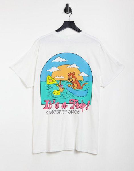 Crooked Tongues - Weißes T-Shirt mit Print am Rücken