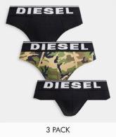 Diesel - Slips im 3er-Pack mit Military-Muster/in Schwarz-Mehrfarbig
