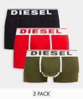 Diesel - Unterhosen in Khaki/Schwarz/Rot im 3er-Pack-Mehrfarbig