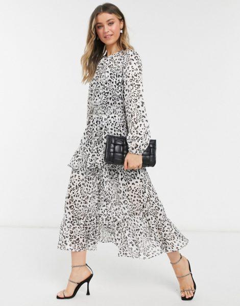 Forever New - Gerafftes Midaxi-Kleid mit Schlitz und Animal-Punkteprint-Mehrfarbig