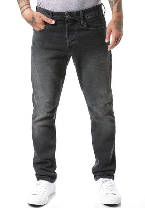 G-STAR RAW 3301 Straight Tapered-Soot Black Stretch - Jeans für Herren - Schwarz