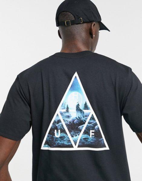 HUF - Lupus Noctem - T-Shirt mit Triangel-Print in Schwarz