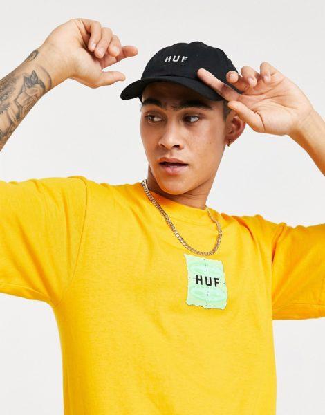 HUF - UFO - Goldgelbes T-Shirt mit eingerahmtem Logo