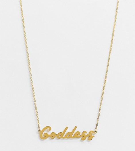 """Hoops + Chains - LDN - Halskette mit """"Goddess""""-Schriftzug und wasserfester, 18-karätiger Vergoldung"""