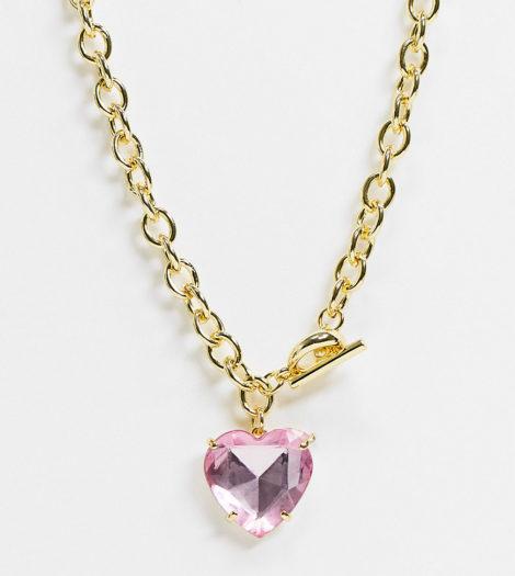 Image Gang - Vergoldete, schwere Halskette mit Herzanhänger in Acrylrosa mit T-Verschluss