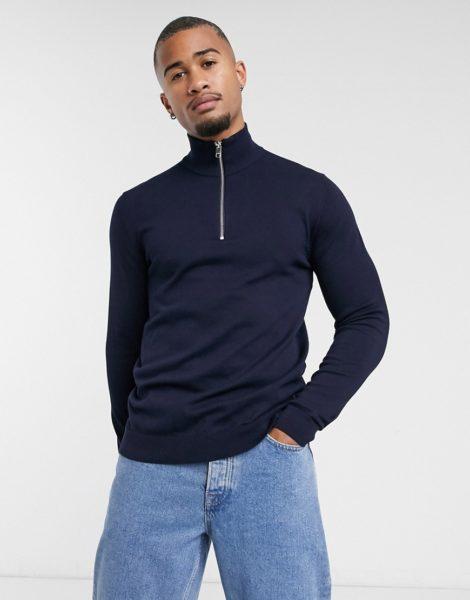 Jack & Jones Premium - Marineblauer Pullover mit viertellangem Reißverschluss-Navy