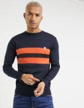 Le Breve - Pullover in Marine und Orange mit Blockstreifen-Marineblau