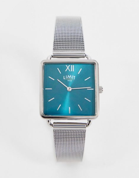 Limit - Quadratische Uhr mit Netzarmband in Silber und grünem Zifferblatt