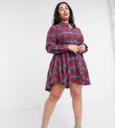 Missguided Plus - Kariertes Skater-Kleid in Burgunder-Rot