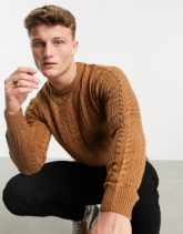 New Look - Pullover mit Zopfmuster in Bronze