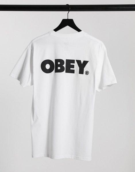 Obey - Weißes T-Shirt mit kräftigem Logoprint auf dem Rücken