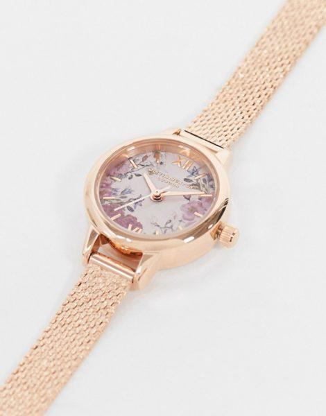 Olivia Burton - OB16VM156 - Armbanduhr in Roségold mit Netzband und Blumendesign