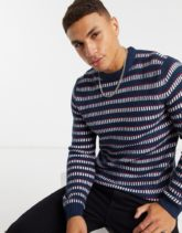 Only & Sons - Gemusterter Pullover in Blau
