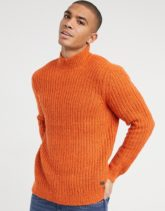 Only & Sons - Grobstrick-Pullover mit Stehkragen in Orange