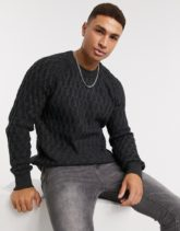 Selected Homme - Grauer Pullover mit Zopfmuster
