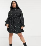 Simply Be - Skater-Kleid mit gebundener Taille und Sternenmuster-Mehrfarbig