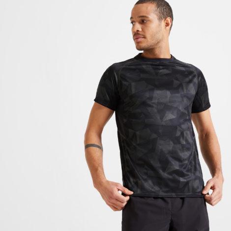 T-Shirt FTS 120 Fitness Cardio Herren khaki/schwarz camouflage
