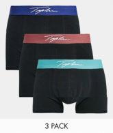 Topman - 3er-Pack Unterhosen in Schwarz mit farbigem Taillenbund