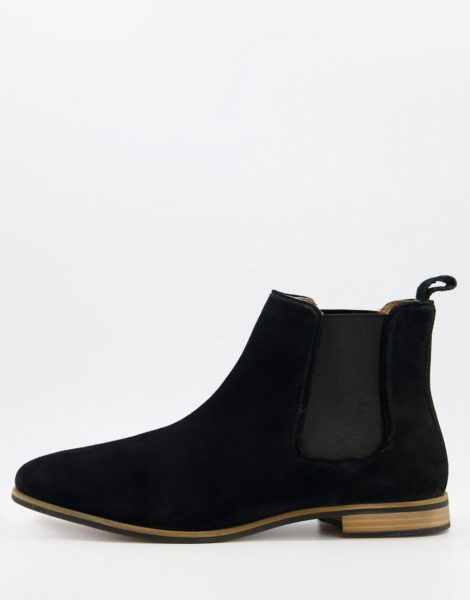 Topman - Chelsea-Stiefel aus Wildleder in Schwarz
