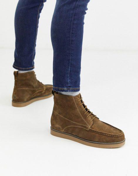 Topman - Hellbraune Mokassin-Stiefel zum Schnüren-Bronze