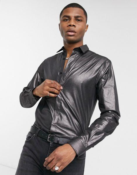 Twisted Tailor - Eng geschnittenes Hemd in stahlgrauer Metallic-Optik-Silber