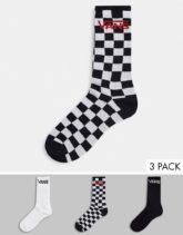Vans Classic - Crew - 3er-Pack Socken mit Schachbrettmuster in Schwarz/Weiß
