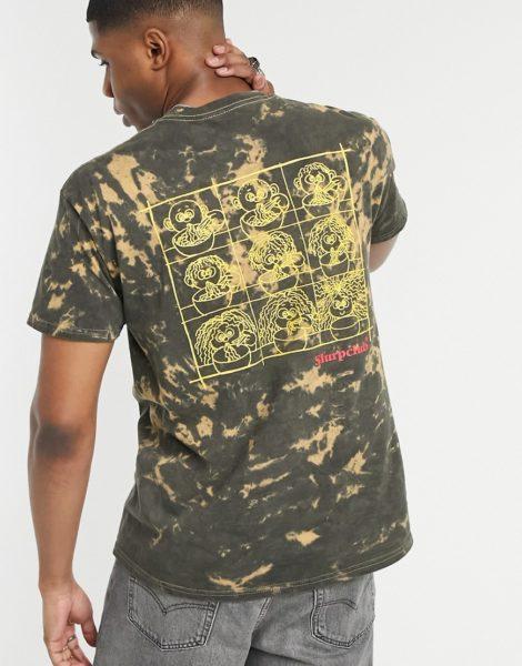 Vintage Supply - T-Shirt mit Slurp Club-Print in braunem Batikmuster