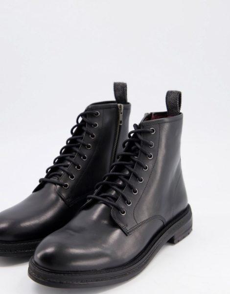 Walk London - Wolf - Schnürstiefel aus schwarzem Leder