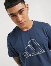 adidas Training - T-Shirt mit umrissenen Logo auf der Brust in Marineblau