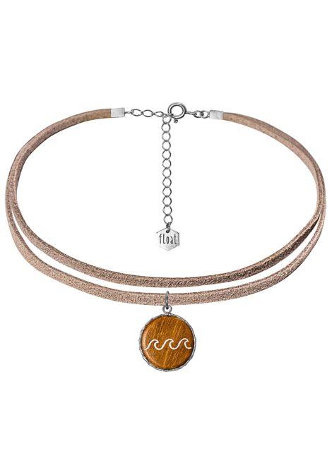 float Choker Vegan Lthr Little Waves - Halskette für Damen - Grau