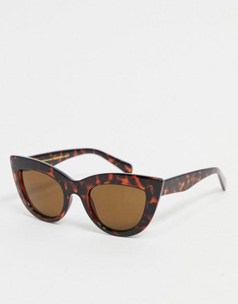 A.Kjaerbede - Stella - Große Cat-Eye-Sonnenbrille für Damen in brauner Schildpattoptik im Stil der 70er