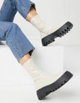ASOS DESIGN - Ace - Stiefel in Weiß mit dicker Sohle