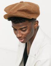 ASOS DESIGN - Bakerboy-Mütze aus kamelfarbenem Melton-Bronze