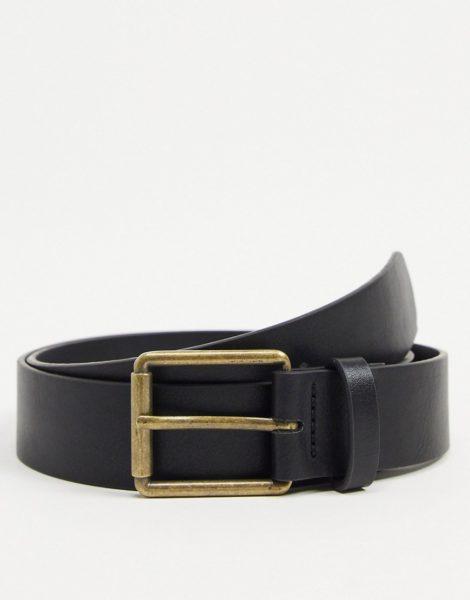 ASOS DESIGN - Breiter Gürtel aus Kunstleder aus Schwarz mit Rollschnalle in antikgold