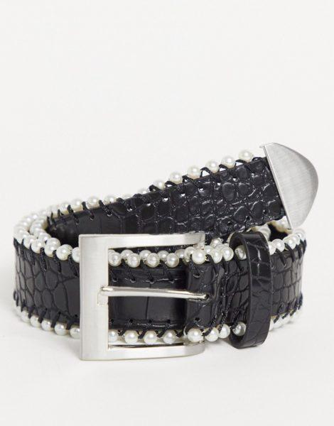 ASOS DESIGN - Breiter Gürtel aus Kunstleder in Kroko-schwarz mit Perlendetail