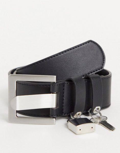 ASOS DESIGN - Breiter Gürtel aus schwarzem Kunstleder mit Vorhängeschloss-Detail