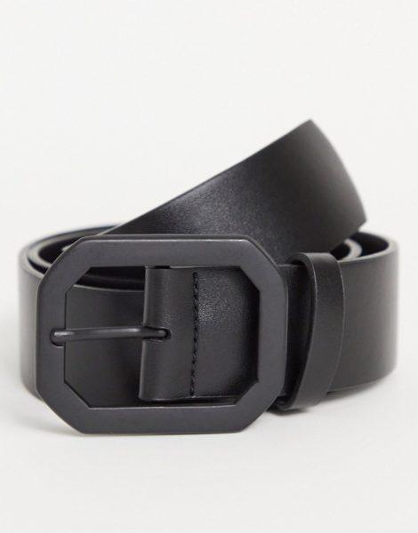 ASOS DESIGN - Breiter Gürtel aus schwarzem Kunstleder mit mattschwarzer Jeans-Schnalle