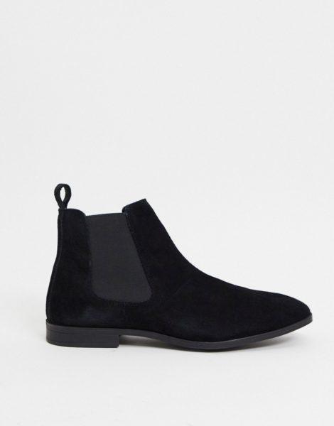 ASOS DESIGN - Chelsea-Stiefel aus schwarzem Wildleder mit schwarzer Sohle