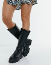 ASOS DESIGN - Cora - Kniehohe Stiefel mit dicker Sohle in Schwarz