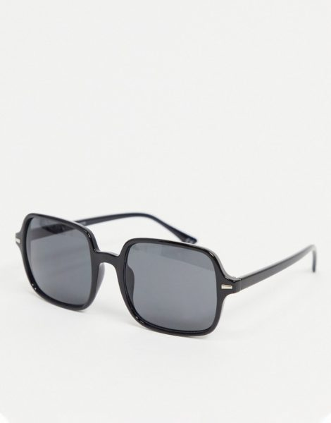 ASOS DESIGN - Eckige Oversize-Sonnenbrille aus schwarzem Kunststoff mit getönten Gläsern