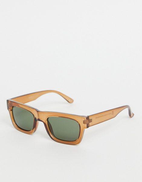ASOS DESIGN - Eckige Sonnenbrille aus braunem Kunststoff im Stil der 70er mit getönten Gläsern