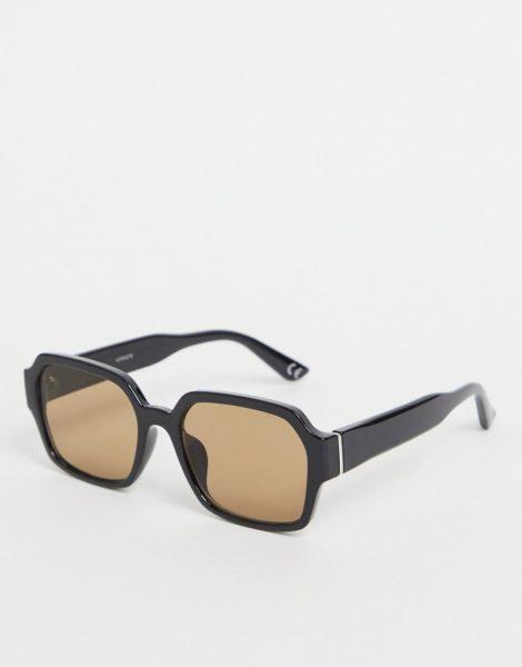 ASOS DESIGN - Eckige Sonnenbrille aus schwarzem Kunststoff mit braun getönten Gläsern im Stil der 70er